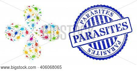 Infection Microbe Multicolored Twirl Abstract Flower, And Blue Round Parasites Grunge Watermark. Obj