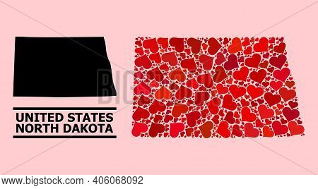 Love Pattern And Solid Map Of North Dakota State On A Pink Background. Mosaic Map Of North Dakota St
