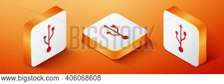 Isometric Usb Symbol Icon Isolated On Orange Background. Usb Flash Drive Symbol. Orange Square Butto