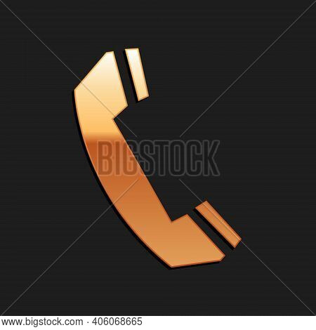 Gold Telephone Handset Icon Isolated On Black Background. Phone Sign. Call Support Center Symbol. Co