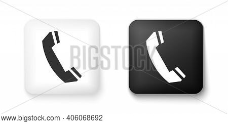 Black And White Telephone Handset Icon Isolated On White Background. Phone Sign. Call Support Center