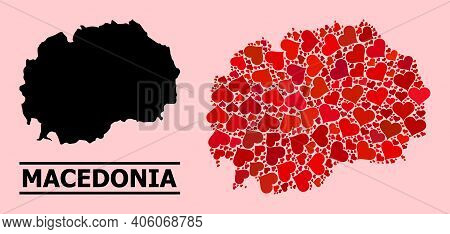 Love Mosaic And Solid Map Of Macedonia On A Pink Background. Mosaic Map Of Macedonia Formed With Red