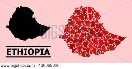 Love Collage And Solid Map Of Ethiopia On A Pink Background. Collage Map Of Ethiopia Is Composed Wit