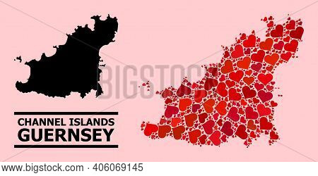 Love Collage And Solid Map Of Guernsey Island On A Pink Background. Mosaic Map Of Guernsey Island Is