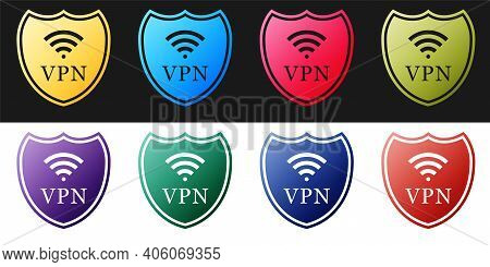 Set Shield With Vpn And Wifi Wireless Internet Network Icon Isolated On Black And White Background.