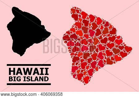 Love Collage And Solid Map Of Hawaii Big Island On A Pink Background. Collage Map Of Hawaii Big Isla