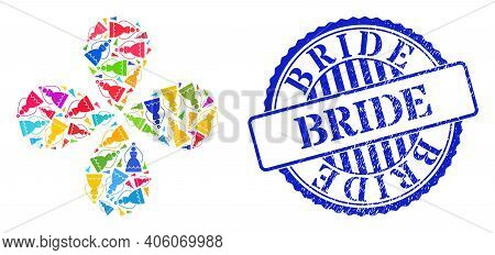 Bride Multicolored Explosion Twist, And Blue Round Bride Unclean Stamp Seal. Element Flower Composed