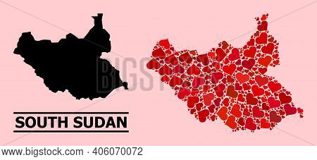 Love Mosaic And Solid Map Of South Sudan On A Pink Background. Collage Map Of South Sudan Formed Fro