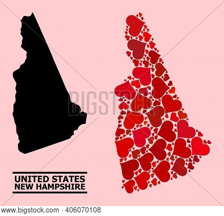Love Mosaic And Solid Map Of New Hampshire State On A Pink Background. Mosaic Map Of New Hampshire S