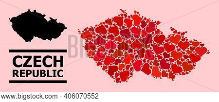 Love Collage And Solid Map Of Czech Republic On A Pink Background. Collage Map Of Czech Republic Cre