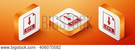 Isometric Eps File Document Icon. Download Eps Button Icon Isolated On Orange Background. Orange Squ