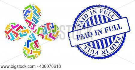 Apply Tick Colorful Twirl Abstract Flower, And Blue Round Paid In Full Scratched Stamp Imitation. El