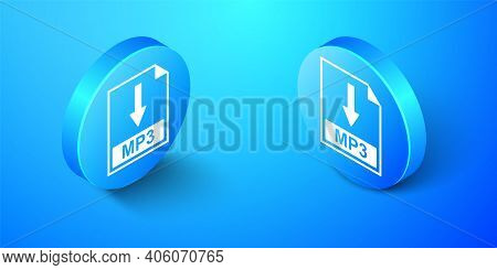 Isometric Mp3 File Document Icon. Download Mp3 Button Icon Isolated On Blue Background. Blue Circle