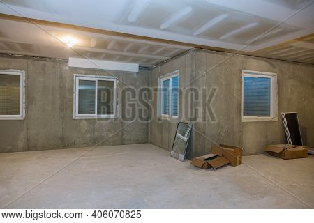 Unfinished View On Concrete Floor Construction Of Basement Empty Under Construction Of Residential H