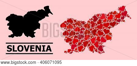 Love Collage And Solid Map Of Slovenia On A Pink Background. Collage Map Of Slovenia Is Composed Wit