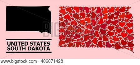 Love Mosaic And Solid Map Of South Dakota State On A Pink Background. Mosaic Map Of South Dakota Sta