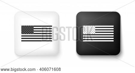 Black And White American Flag Icon Isolated On White Background. Flag Of Usa. Square Button. Vector
