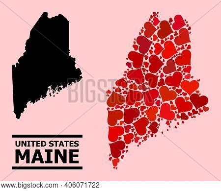 Love Collage And Solid Map Of Maine State On A Pink Background. Collage Map Of Maine State Created W