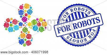 Robot Head Colored Rotation Abstract Flower, And Blue Round For Robots Rubber Print. Object Cyclone