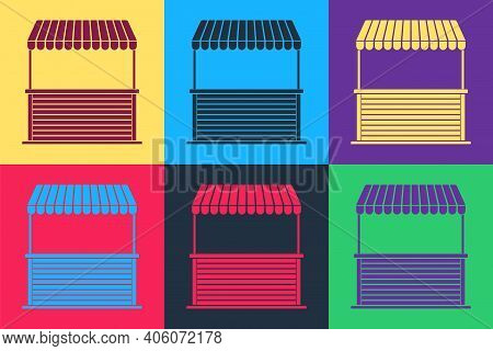 Pop Art Street Stall With Awning And Wooden Rack Icon Isolated On Color Background. Kiosk With Woode