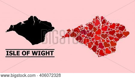 Love Pattern And Solid Map Of Isle Of Wight On A Pink Background. Collage Map Of Isle Of Wight Compo