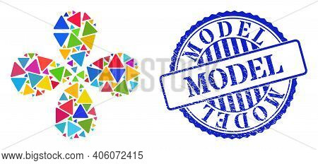 Rounded Triangle Multi Colored Swirl Flower With Four Petals, And Blue Round Model Dirty Seal. Eleme