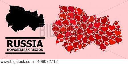 Love Mosaic And Solid Map Of Novosibirsk Region On A Pink Background. Collage Map Of Novosibirsk Reg