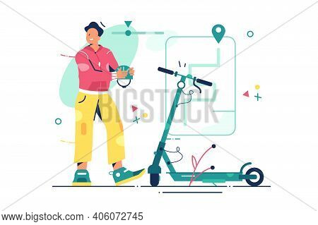 Man With Electric Scooter Vector Illustration. Guy Ready To Ride Ecology City Transport Flat Style.