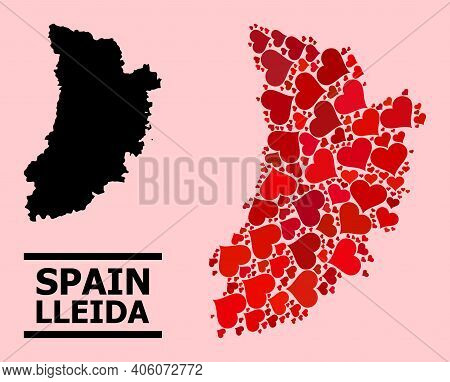 Love Mosaic And Solid Map Of Lleida Province On A Pink Background. Mosaic Map Of Lleida Province Des