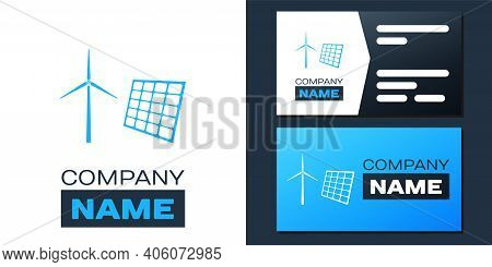 Logotype Wind Mill Turbines Generating Electricity And Solar Panel Icon Isolated On White Background