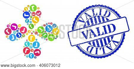Valid Colorful Rotation Flower With Four Petals, And Blue Round Valid Rubber Badge. Object Flower Wi