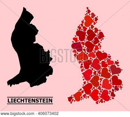 Love Mosaic And Solid Map Of Liechtenstein On A Pink Background. Mosaic Map Of Liechtenstein Compose