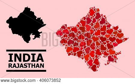 Love Mosaic And Solid Map Of Rajasthan State On A Pink Background. Mosaic Map Of Rajasthan State Is