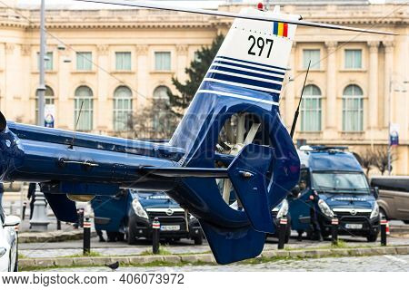 Romanian Police (politia Romana) Helicopter In Front Of The Home Office (ministry Of The Interior) I