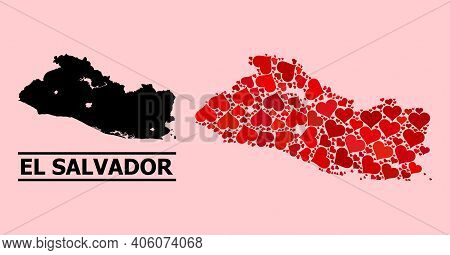 Love Mosaic And Solid Map Of El Salvador On A Pink Background. Mosaic Map Of El Salvador Created Fro