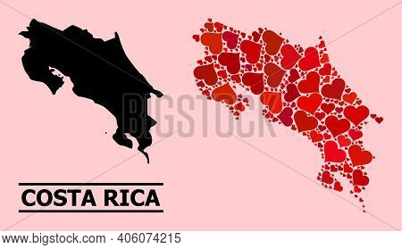 Love Mosaic And Solid Map Of Costa Rica On A Pink Background. Mosaic Map Of Costa Rica Is Composed W
