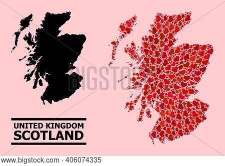 Love Mosaic And Solid Map Of Scotland On A Pink Background. Mosaic Map Of Scotland Designed With Red