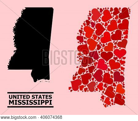 Love Mosaic And Solid Map Of Mississippi State On A Pink Background. Collage Map Of Mississippi Stat