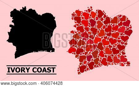Love Mosaic And Solid Map Of Ivory Coast On A Pink Background. Mosaic Map Of Ivory Coast Formed From