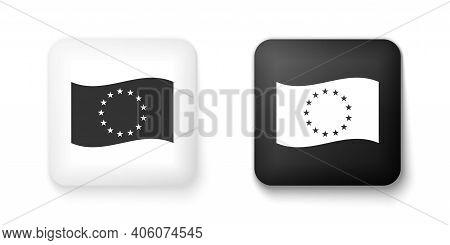 Black And White Flag Of European Union Icon Isolated On White Background. Eu Circle Symbol. Waving E