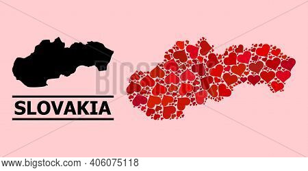 Love Collage And Solid Map Of Slovakia On A Pink Background. Collage Map Of Slovakia Is Formed With