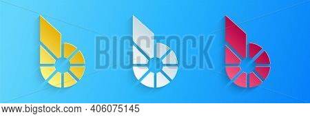 Paper Cut Cryptocurrency Coin Bitshares Bts Icon Isolated On Blue Background. Physical Bit Coin. Dig