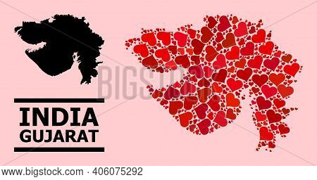 Love Mosaic And Solid Map Of Gujarat State On A Pink Background. Mosaic Map Of Gujarat State Is Crea