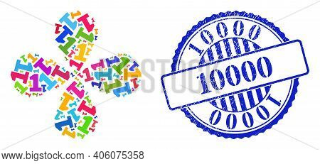 Digit One Bright Swirl Flower Cluster, And Blue Round 10000 Unclean Seal. Element Cluster Designed F