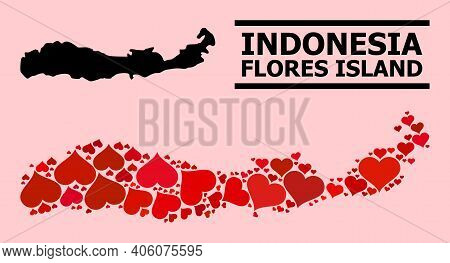 Love Mosaic And Solid Map Of Indonesia - Flores Island On A Pink Background. Mosaic Map Of Indonesia