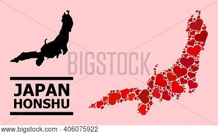 Love Mosaic And Solid Map Of Honshu Island On A Pink Background. Mosaic Map Of Honshu Island Is Comp