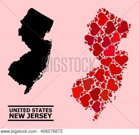 Love Collage And Solid Map Of New Jersey State On A Pink Background. Collage Map Of New Jersey State