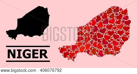 Love Collage And Solid Map Of Niger On A Pink Background. Collage Map Of Niger Composed With Red Val