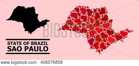 Love Mosaic And Solid Map Of Sao Paulo State On A Pink Background. Collage Map Of Sao Paulo State Is