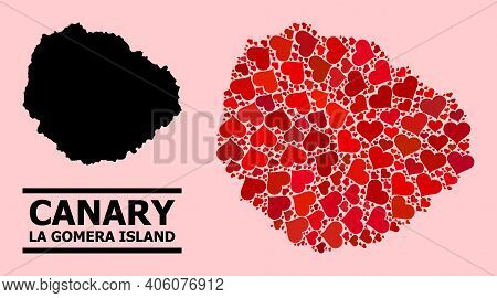 Love Pattern And Solid Map Of La Gomera Island On A Pink Background. Collage Map Of La Gomera Island